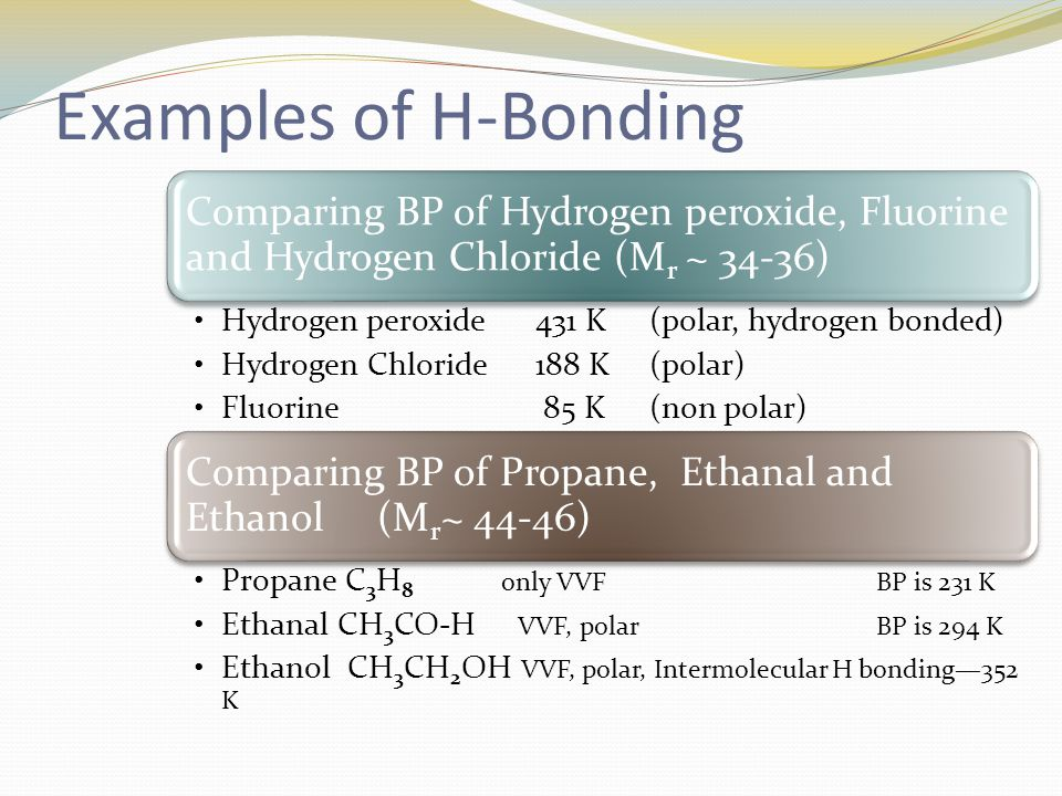Examples of H-Bonding Propane C3H8 only VVF BP is 231 K