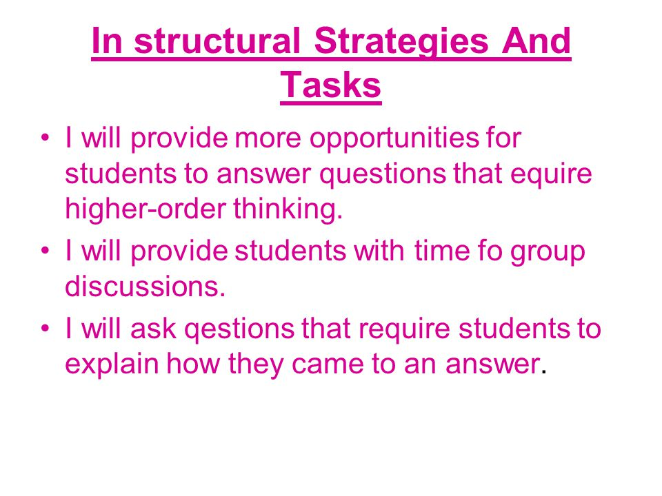 In structural Strategies And Tasks