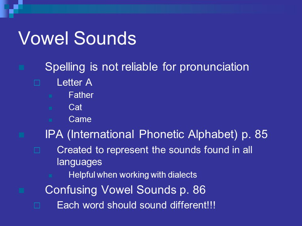 Vowel Sounds Spelling is not reliable for pronunciation
