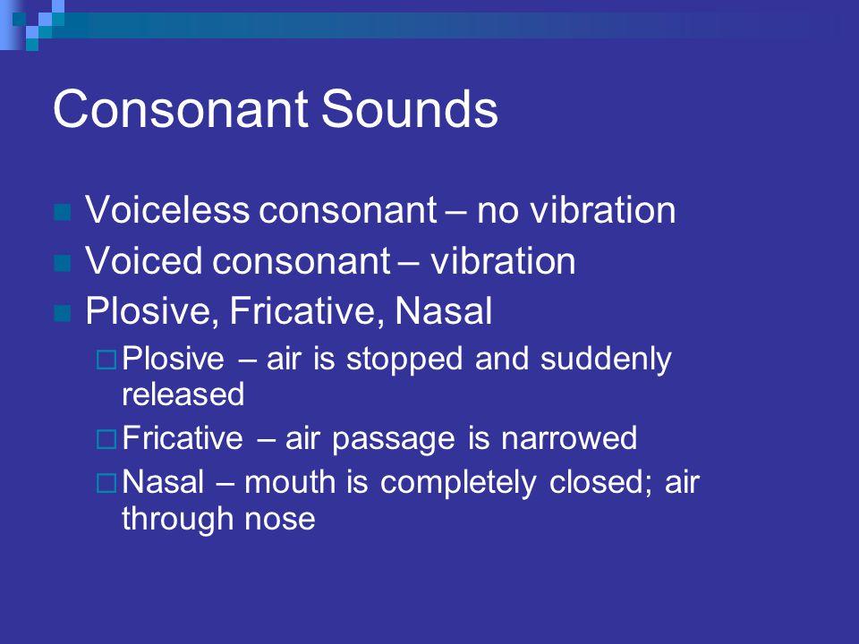 Consonant Sounds Voiceless consonant – no vibration