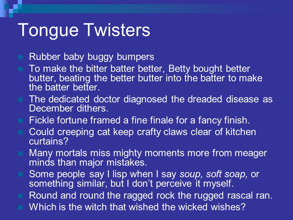Tongue Twisters Rubber baby buggy bumpers
