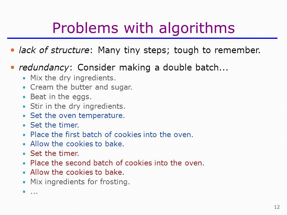 Problems with algorithms