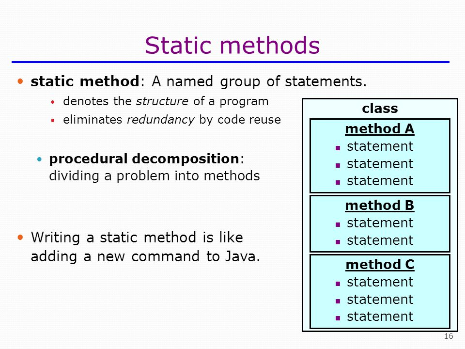Static methods static method: A named group of statements.