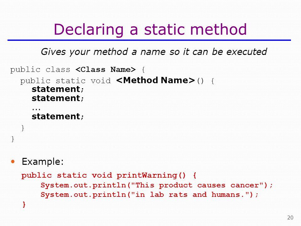 Declaring a static method