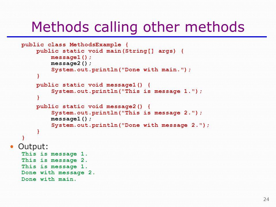 Methods calling other methods