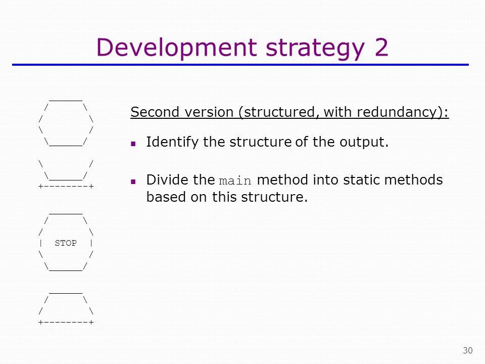 Development strategy 2 Second version (structured, with redundancy):