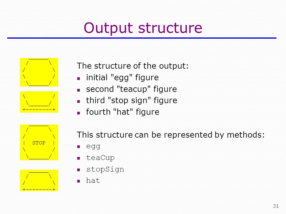 Output structure The structure of the output: initial egg figure
