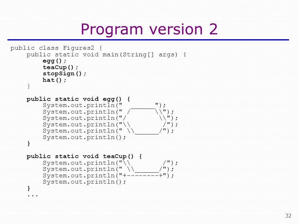 Program version 2 public class Figures2 {