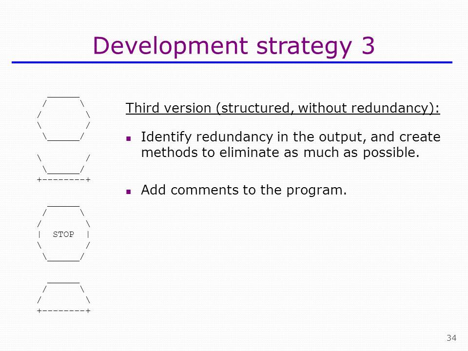 Development strategy 3 Third version (structured, without redundancy):