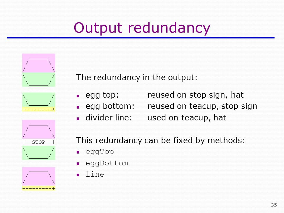 Output redundancy The redundancy in the output: