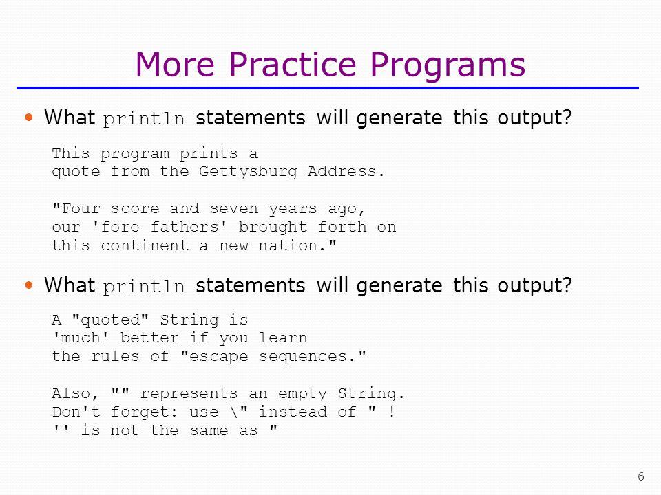 More Practice Programs