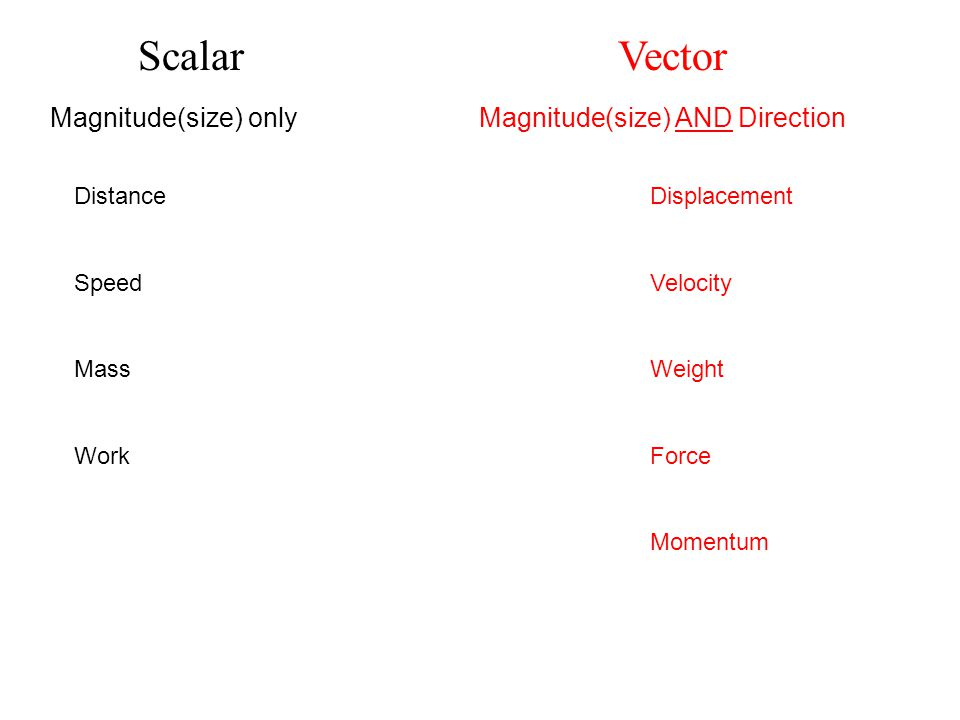 Scalar Vector Magnitude(size) only Magnitude(size) AND Direction