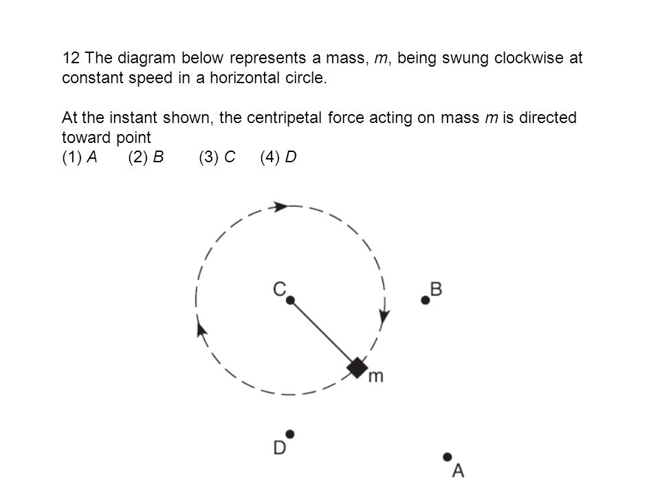 12 The diagram below represents a mass, m, being swung clockwise at constant speed in a horizontal circle.