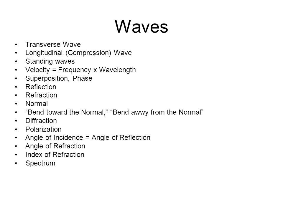 Waves Transverse Wave Longitudinal (Compression) Wave Standing waves