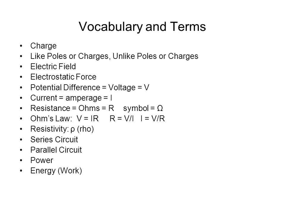 Vocabulary and Terms Charge