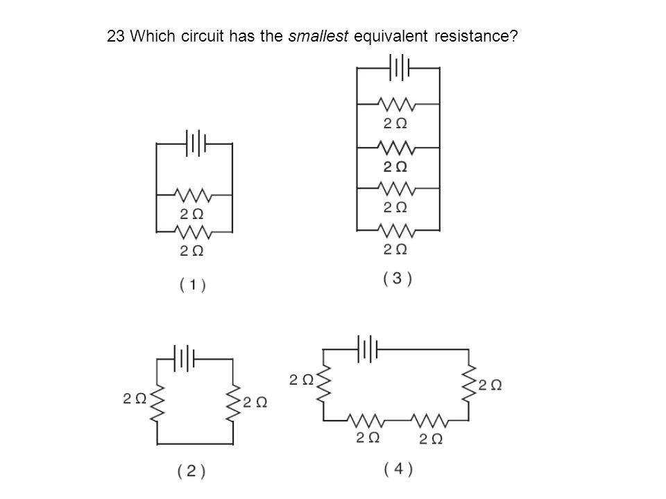 23 Which circuit has the smallest equivalent resistance