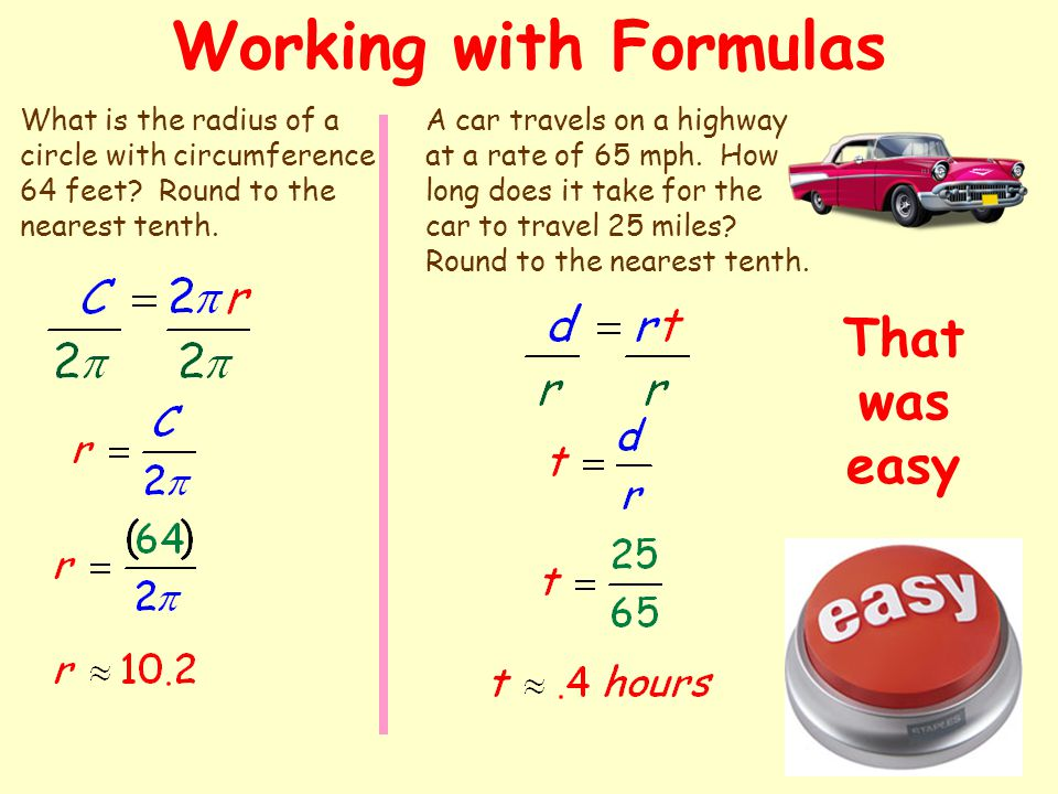 Working with Formulas That was easy