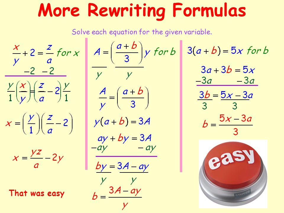 More Rewriting Formulas