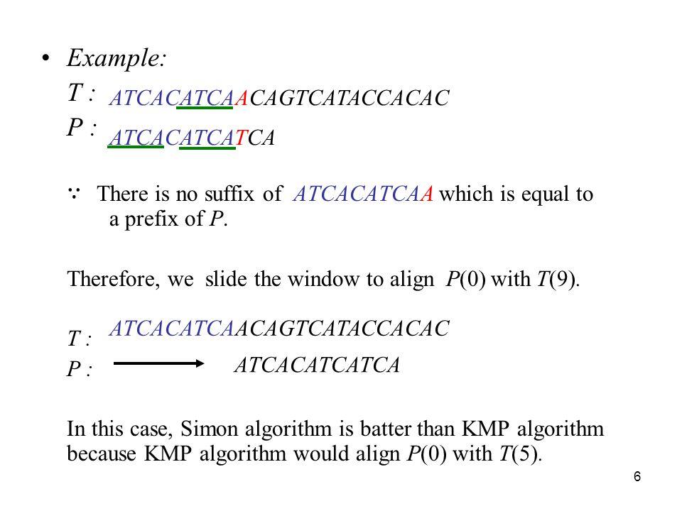 Example: P : ATCACATCAACAGTCATACCACAC T : ATCACATCATCA