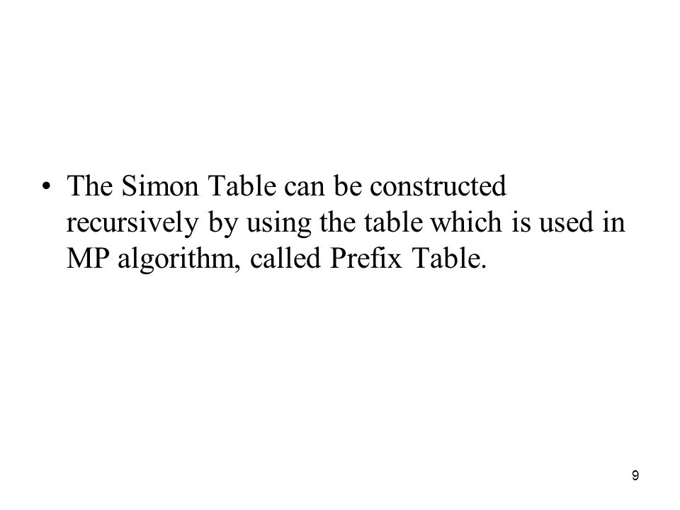 The Simon Table can be constructed recursively by using the table which is used in MP algorithm, called Prefix Table.