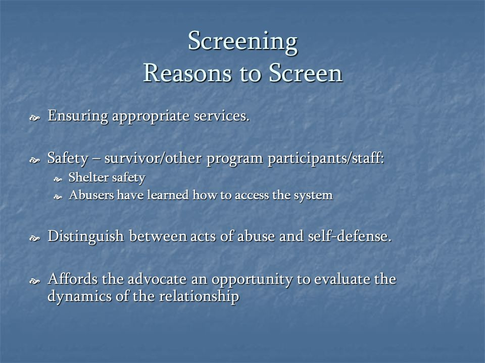 Screening Reasons to Screen