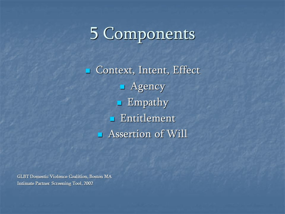 5 Components Context, Intent, Effect Agency Empathy Entitlement