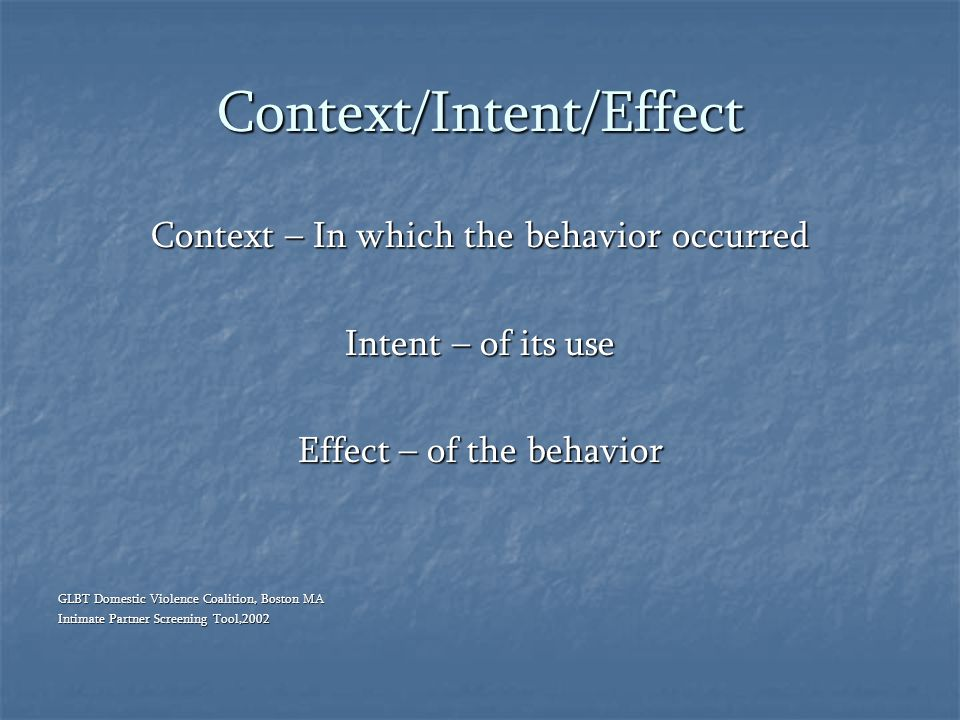Context/Intent/Effect