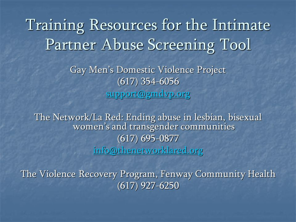 Training Resources for the Intimate Partner Abuse Screening Tool