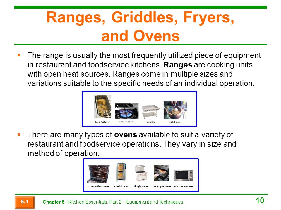 Ranges, Griddles, Fryers, and Ovens
