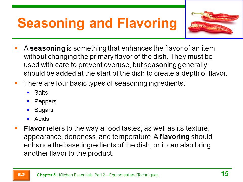 Seasoning and Flavoring