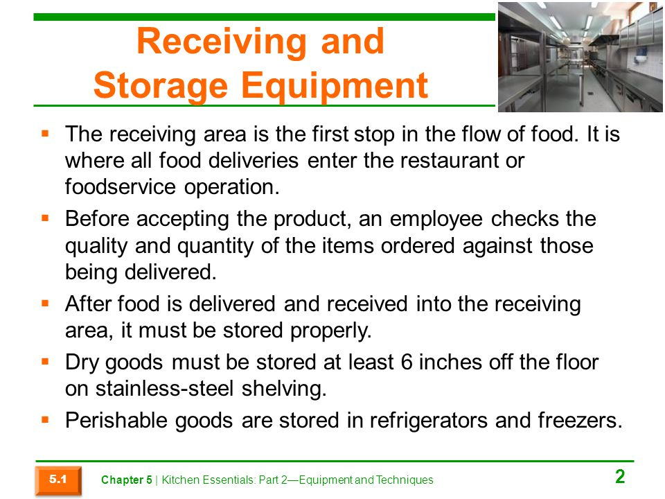 Receiving and Storage Equipment