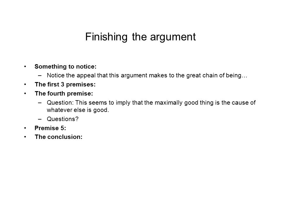 Finishing the argument