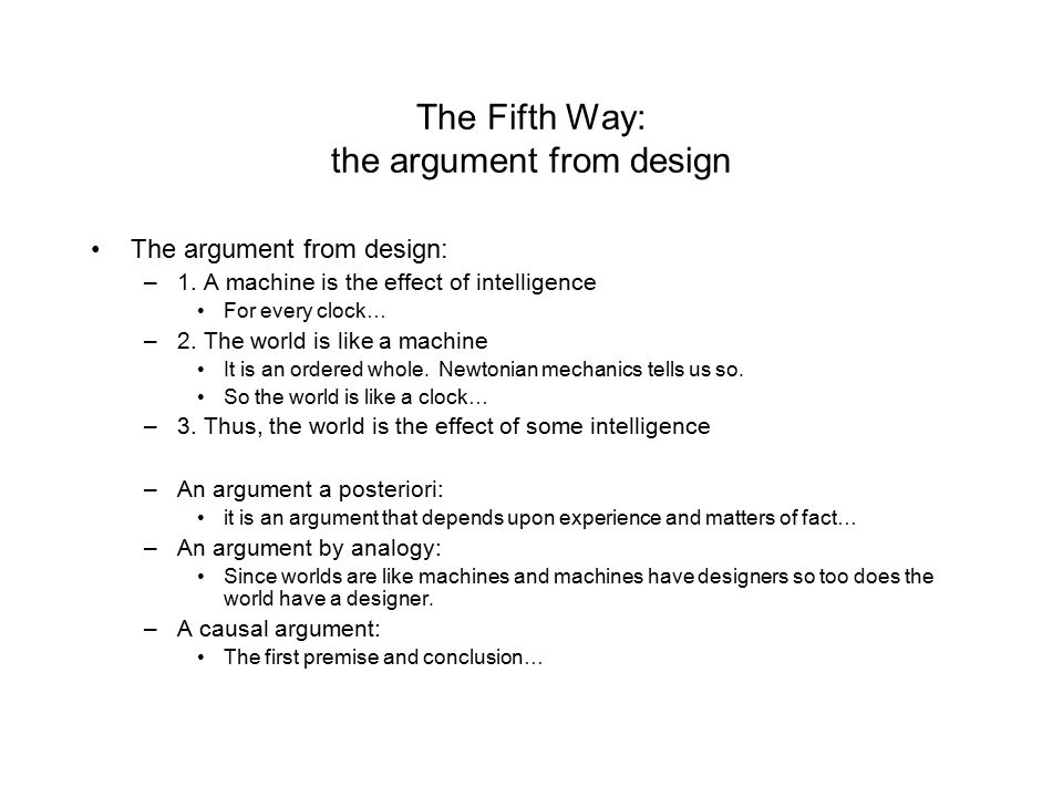 The Fifth Way: the argument from design