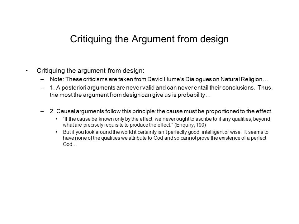 Critiquing the Argument from design