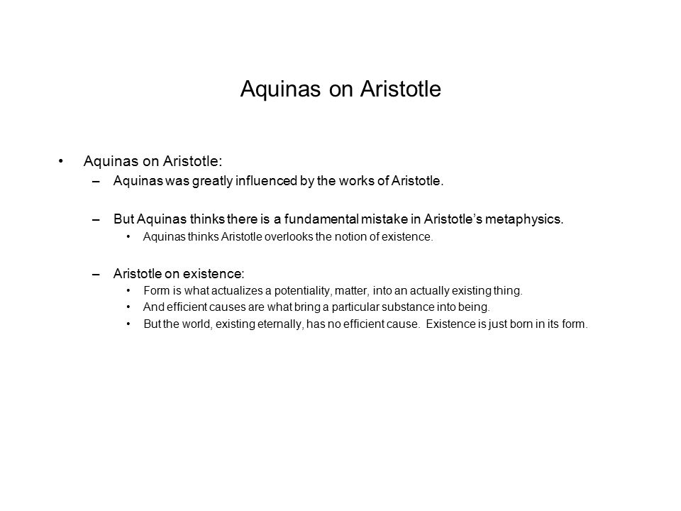 Aquinas on Aristotle Aquinas on Aristotle: