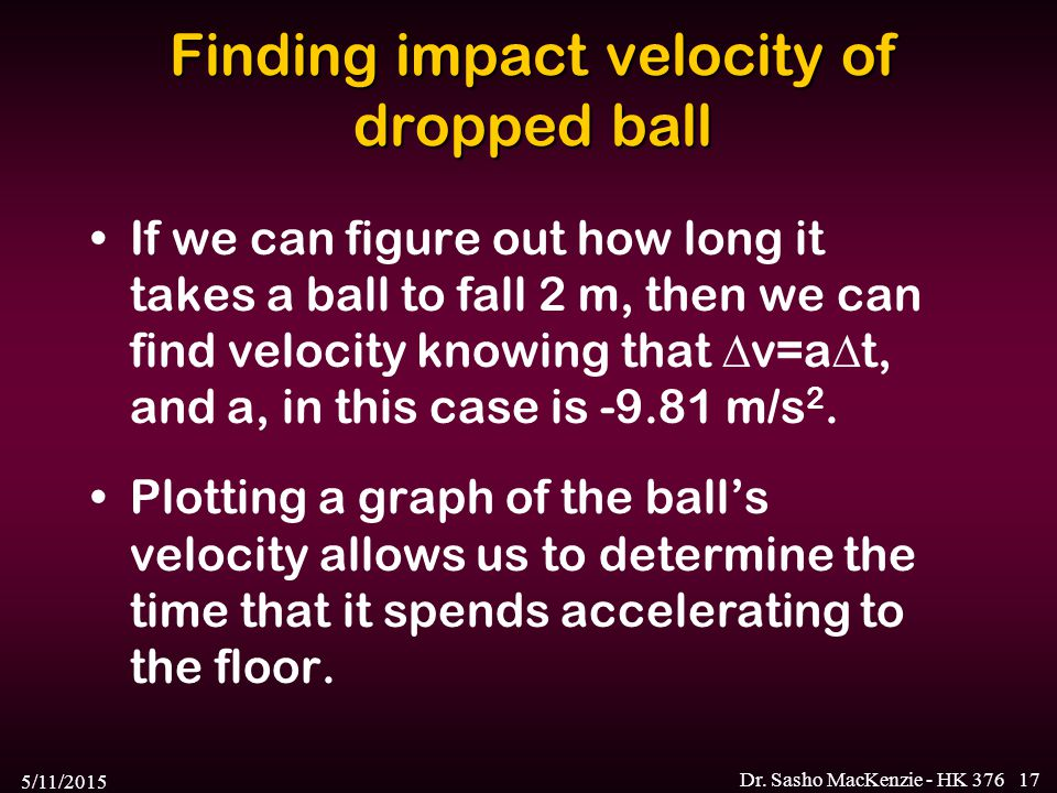 Finding impact velocity of dropped ball