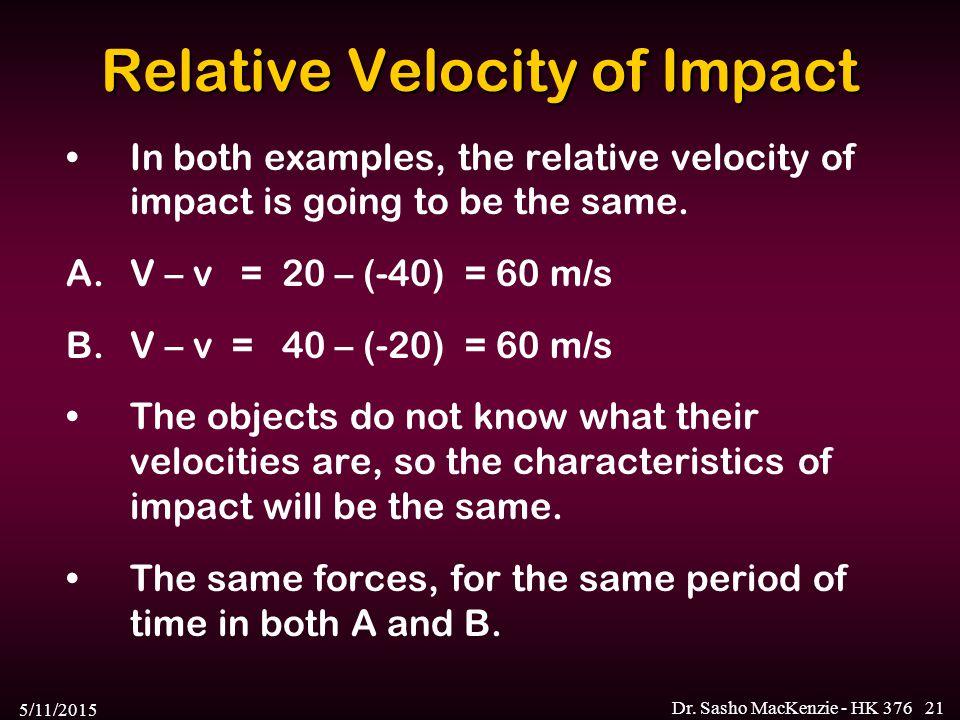 Relative Velocity of Impact