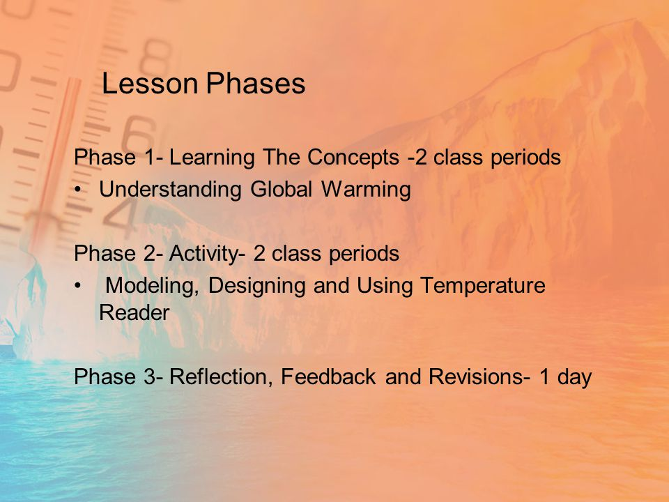 Lesson Phases Phase 1- Learning The Concepts -2 class periods