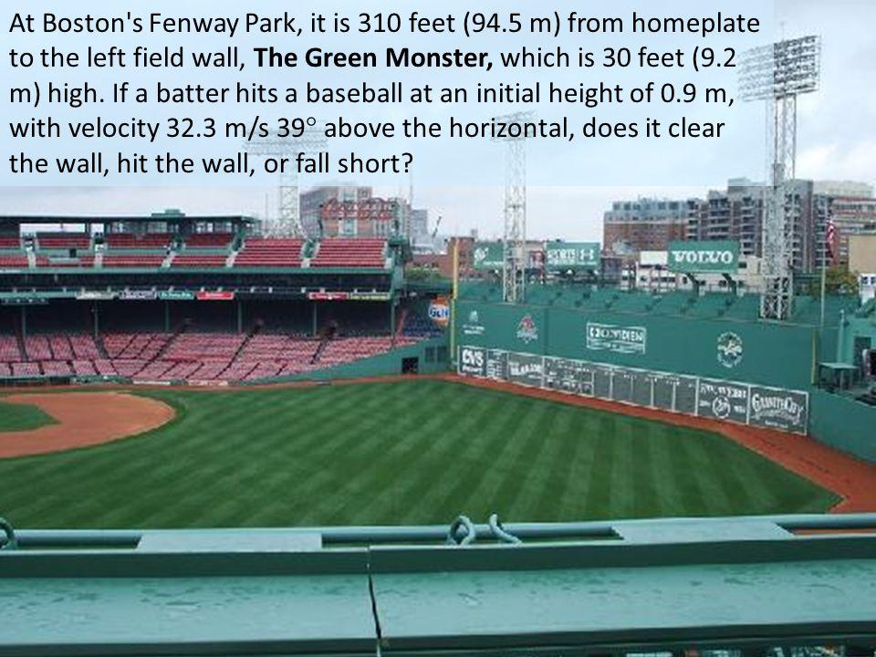 At Boston s Fenway Park, it is 310 feet (94