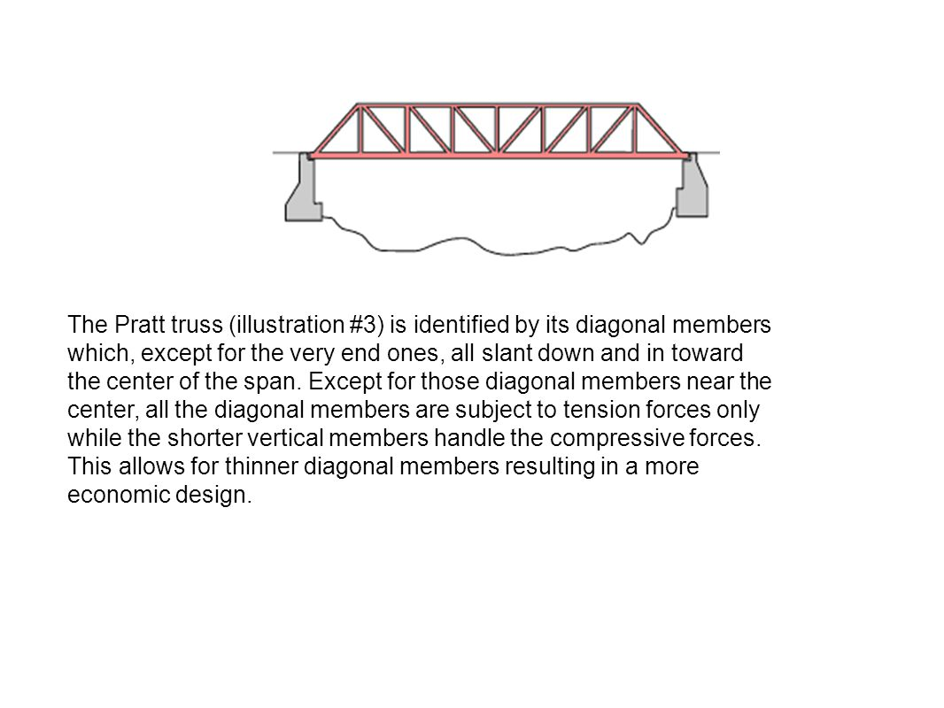The Pratt truss (illustration #3) is identified by its diagonal members which, except for the very end ones, all slant down and in toward the center of the span.