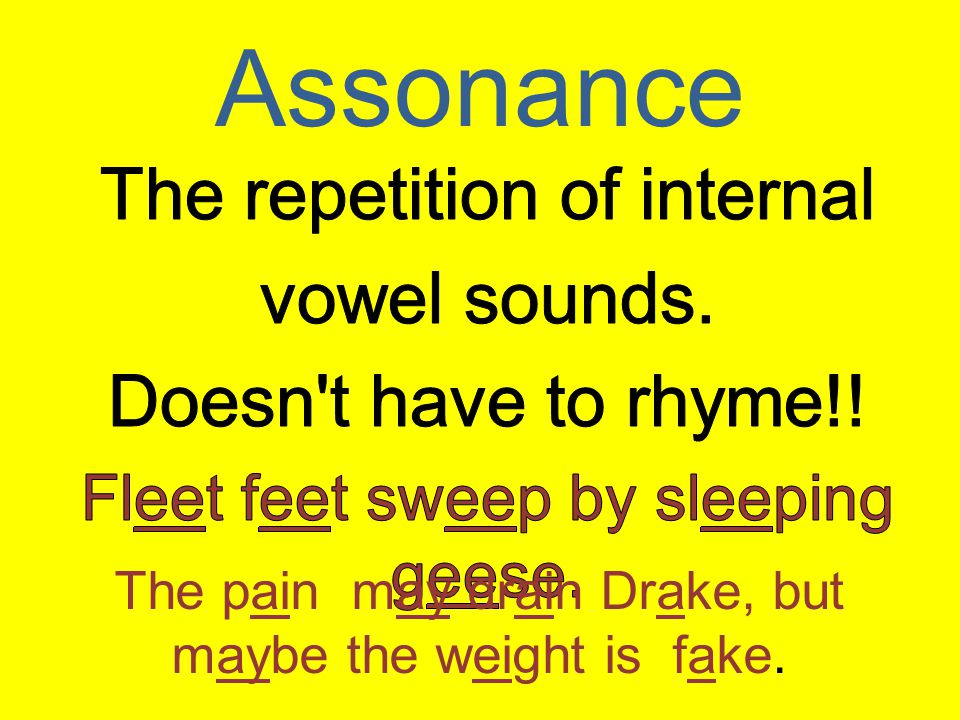 Assonance The repetition of internal vowel sounds.