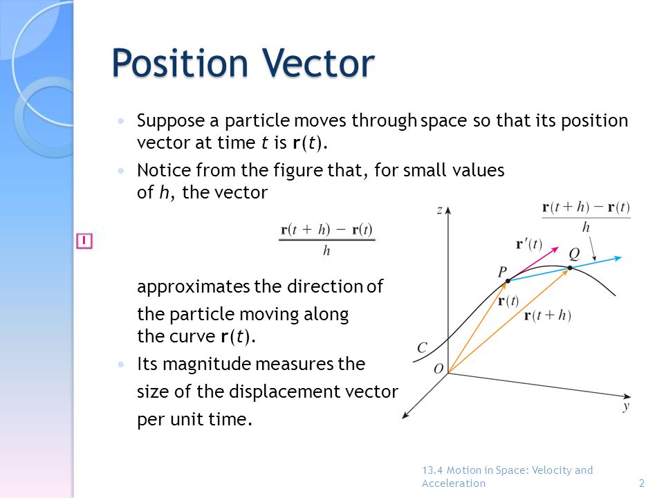 Position Vector Suppose a particle moves through space so that its position vector at time t is r(t).