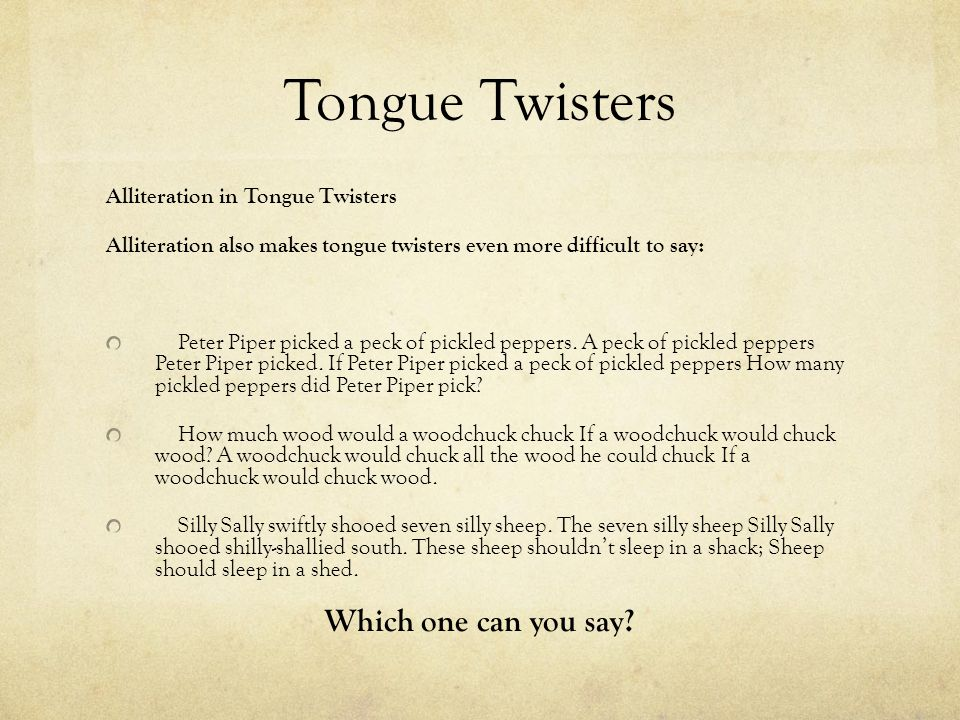 Tongue Twisters Which one can you say Alliteration in Tongue Twisters