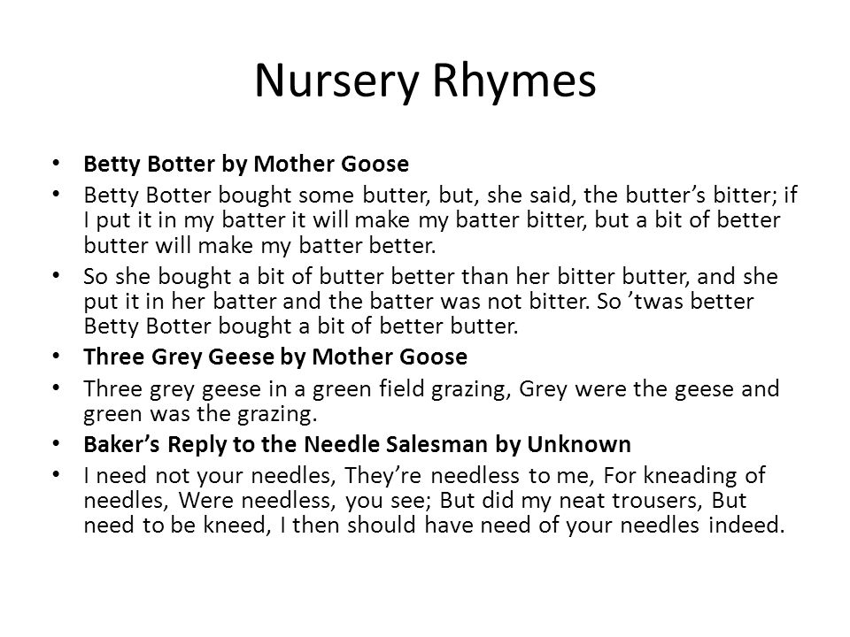 Nursery Rhymes Betty Botter by Mother Goose