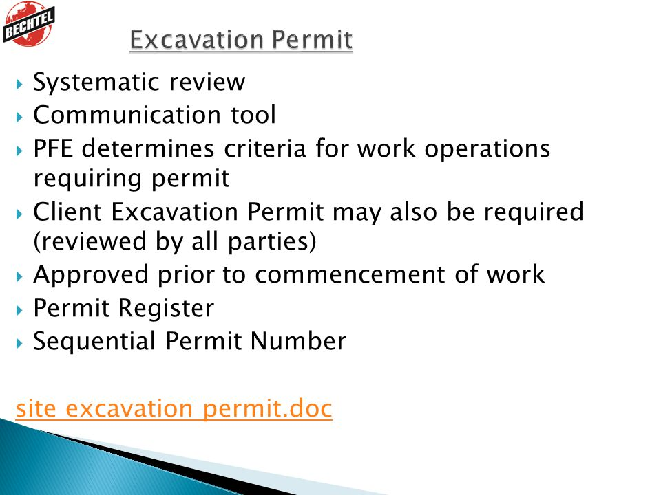 Excavation Permit Systematic review Communication tool