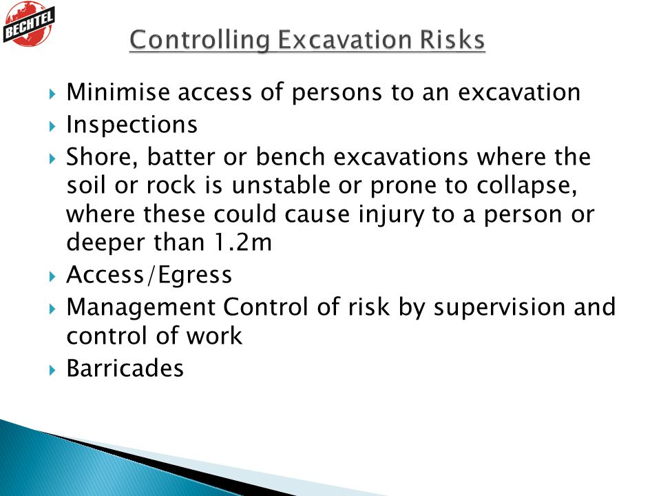 Controlling Excavation Risks