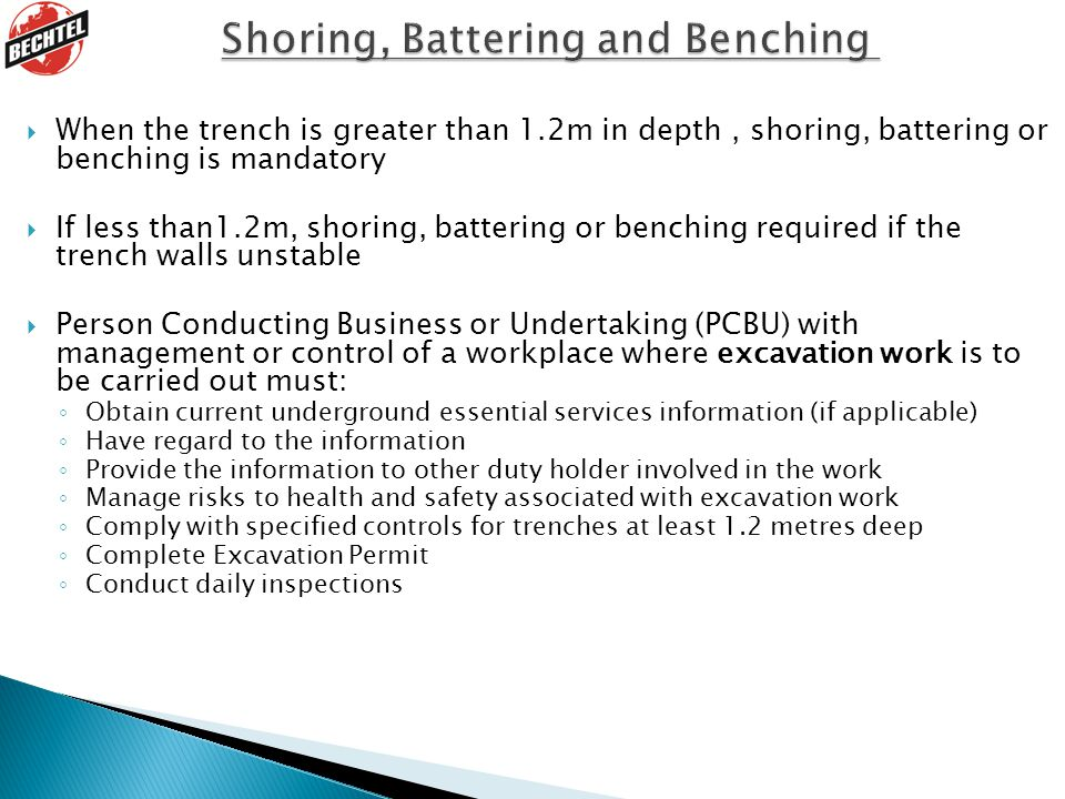 Shoring, Battering and Benching