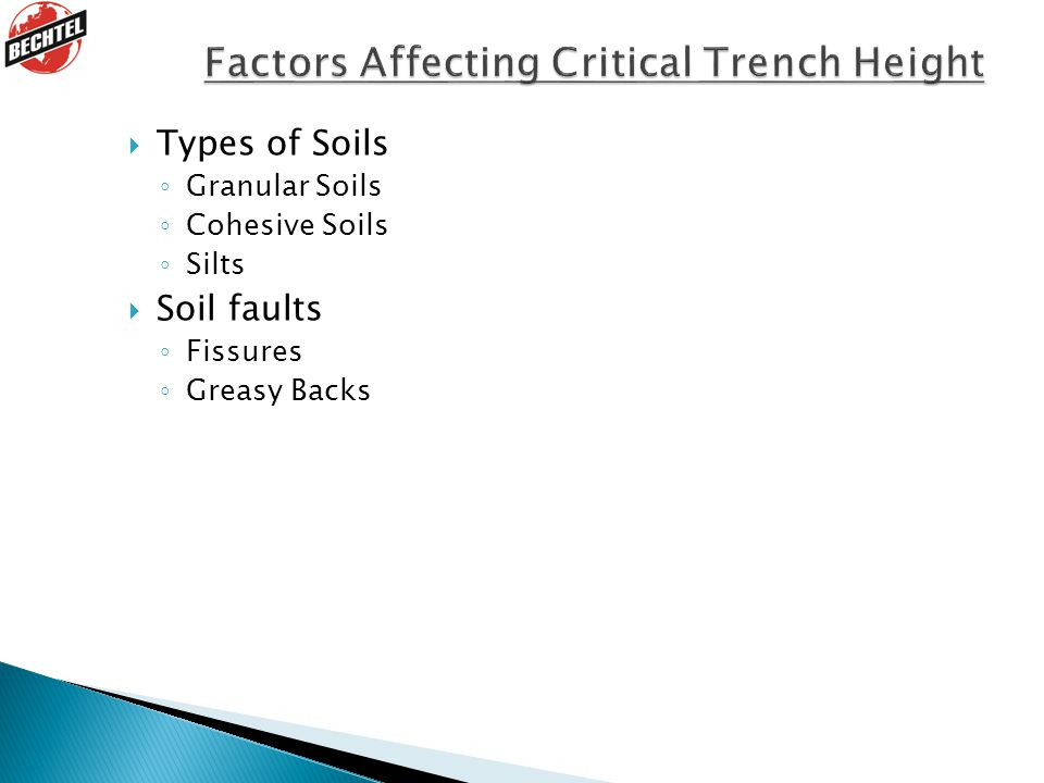 Factors Affecting Critical Trench Height