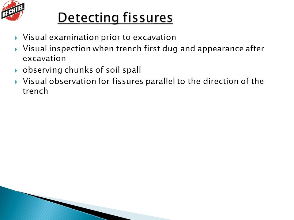 Detecting fissures 1. Discuss each point.