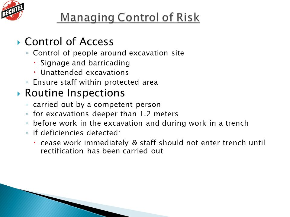 Managing Control of Risk
